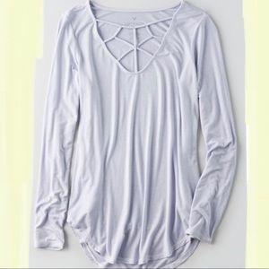 AEO Soft & Sexy Cage Front T-shirt, Sz M
